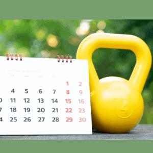 Calendar with yellow kettlebell